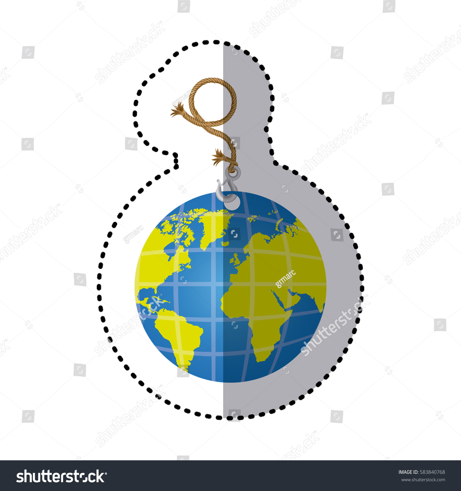 Sticker hanging rope metal hook earth stock vector 583840768 sticker hanging rope with metal hook and earth world map vector illustration gumiabroncs Choice Image