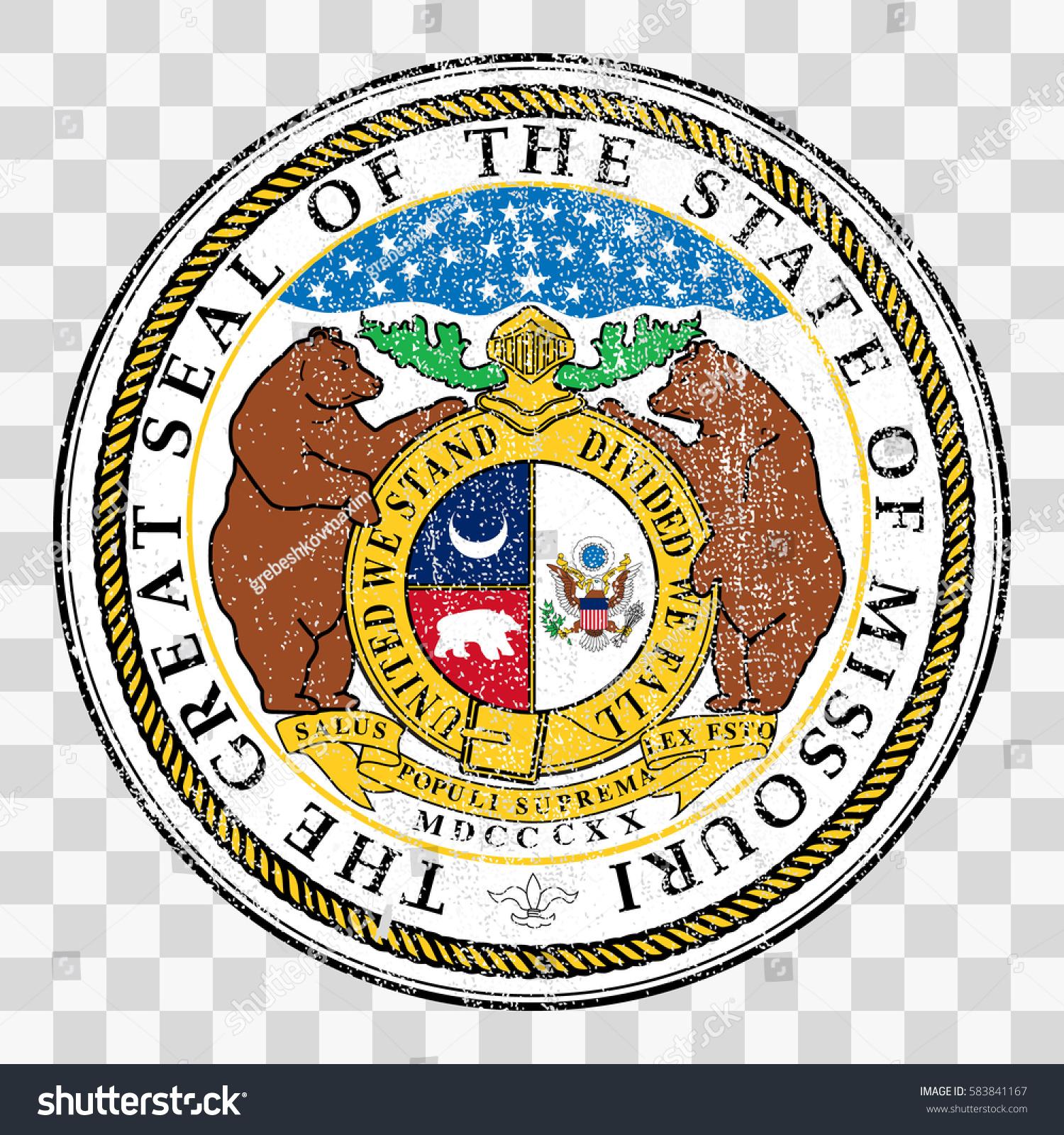 State Seal USA State Missouri Coat เวกเตอร์สต็อก (ปลอดค่า