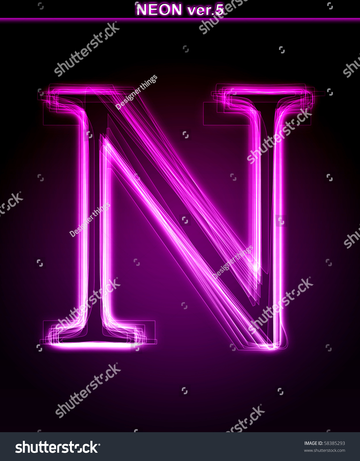 Glowing Neon Letter On Black Background Stock Illustration ...