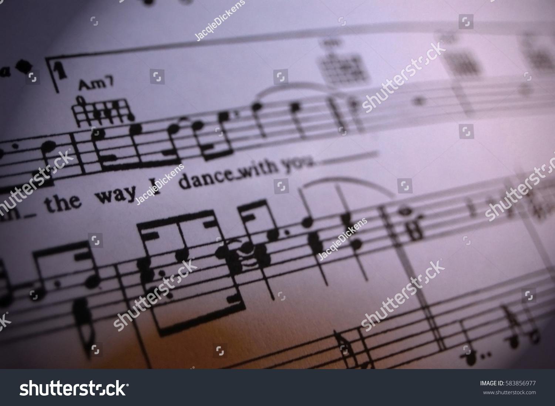 Extreme Closeup Sheet Music Lyrics Stock Photo (Edit Now
