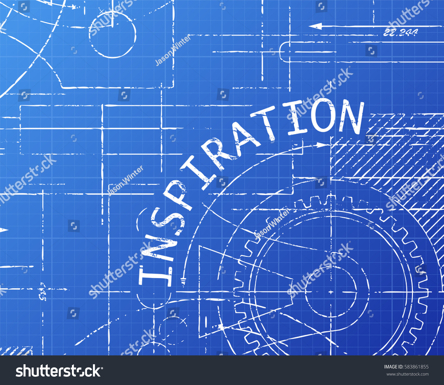 Inspiration text gear wheels hand drawn vectores en stock 583861855 inspiration text with gear wheels hand drawn on blueprint technical drawing background malvernweather Gallery