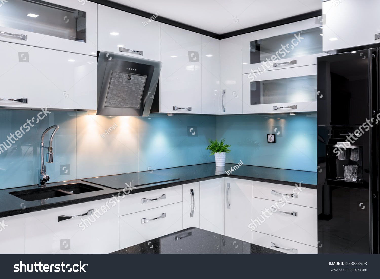 Luxury Kitchen Modern Glossy Black Fridge Stock Photo & Image ...