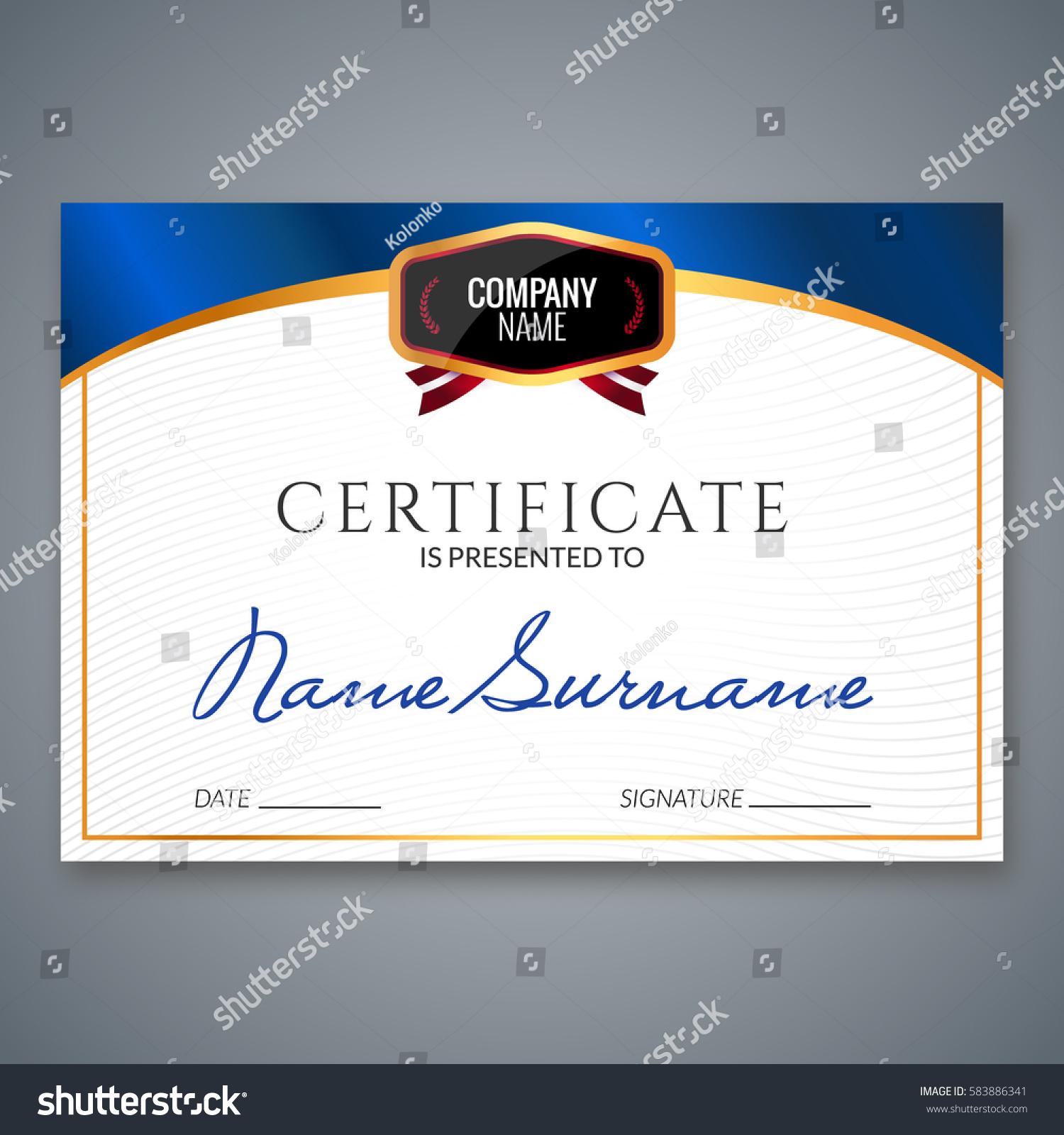 certificate template luxury award vector business stock vector 583886341 shutterstock. Black Bedroom Furniture Sets. Home Design Ideas