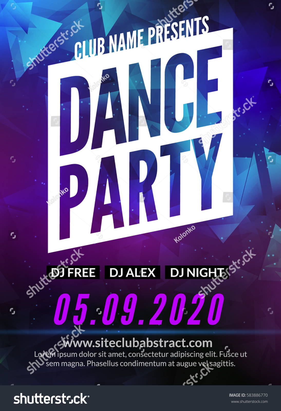 Dance Party Poster Template Night Dance Stock Vector Royalty Free