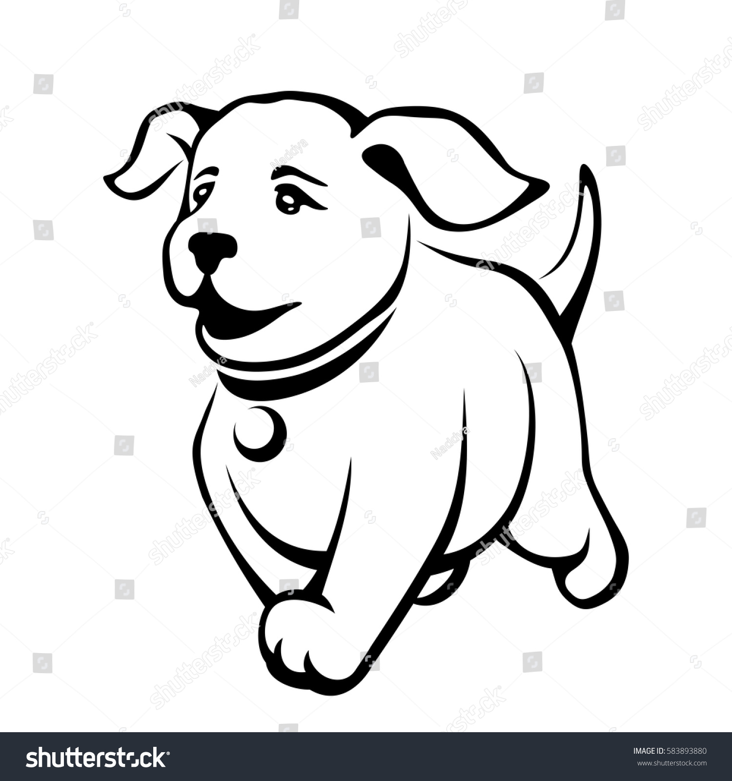 Contour Line Drawing Of A Dog : Vector black contour drawing cute running stock