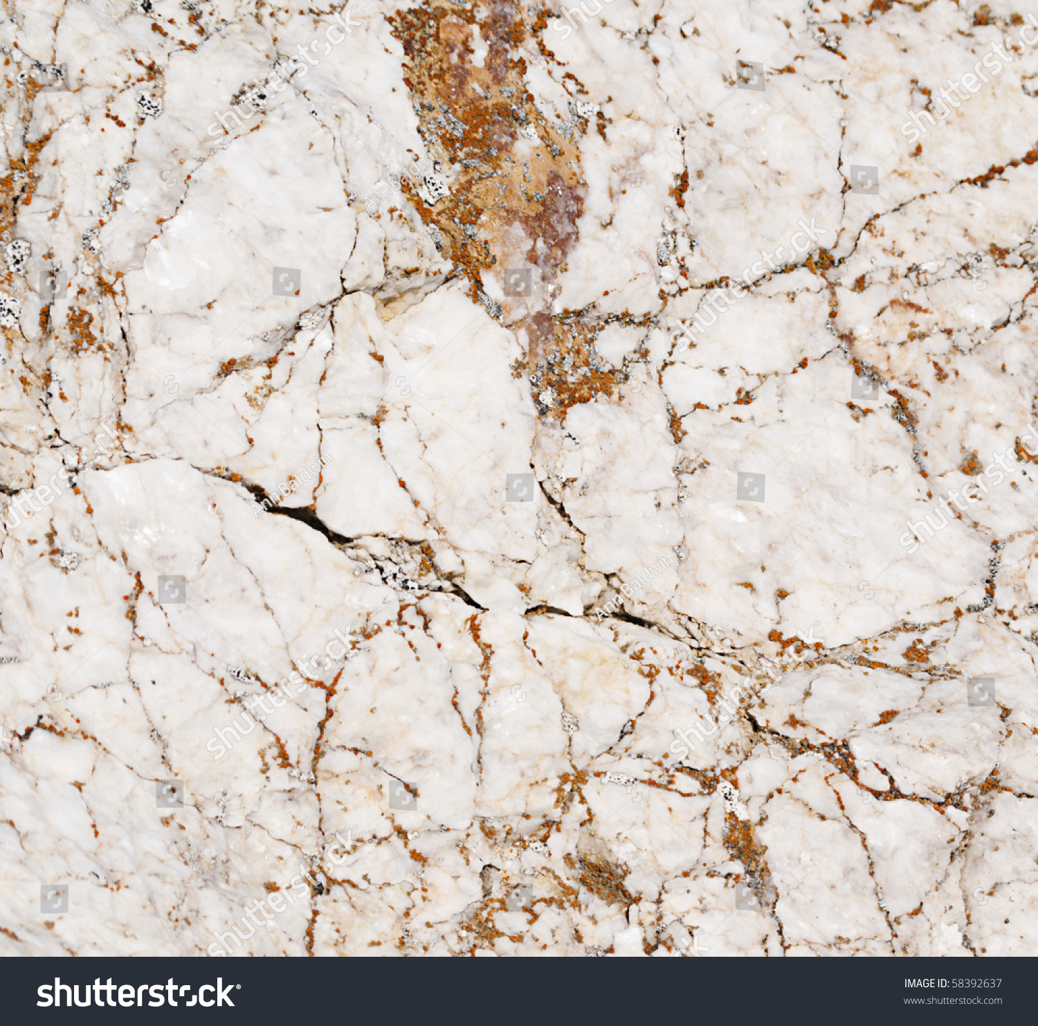 Brown And White Granite : Closeup white marble brown orange veins stock photo