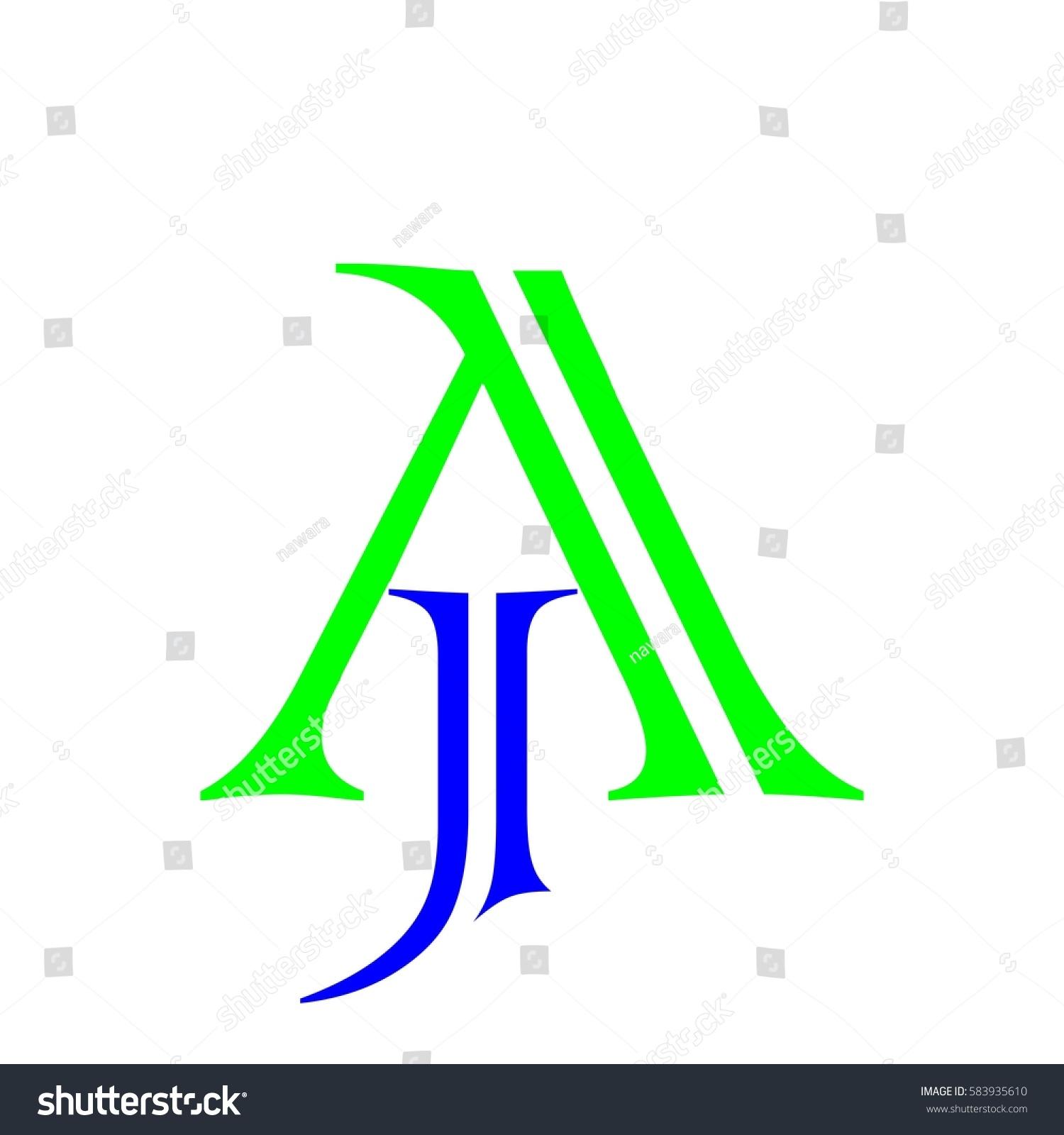 Initial Letter JA Blue Green Color Stock Vector 583935610 - Shutterstock