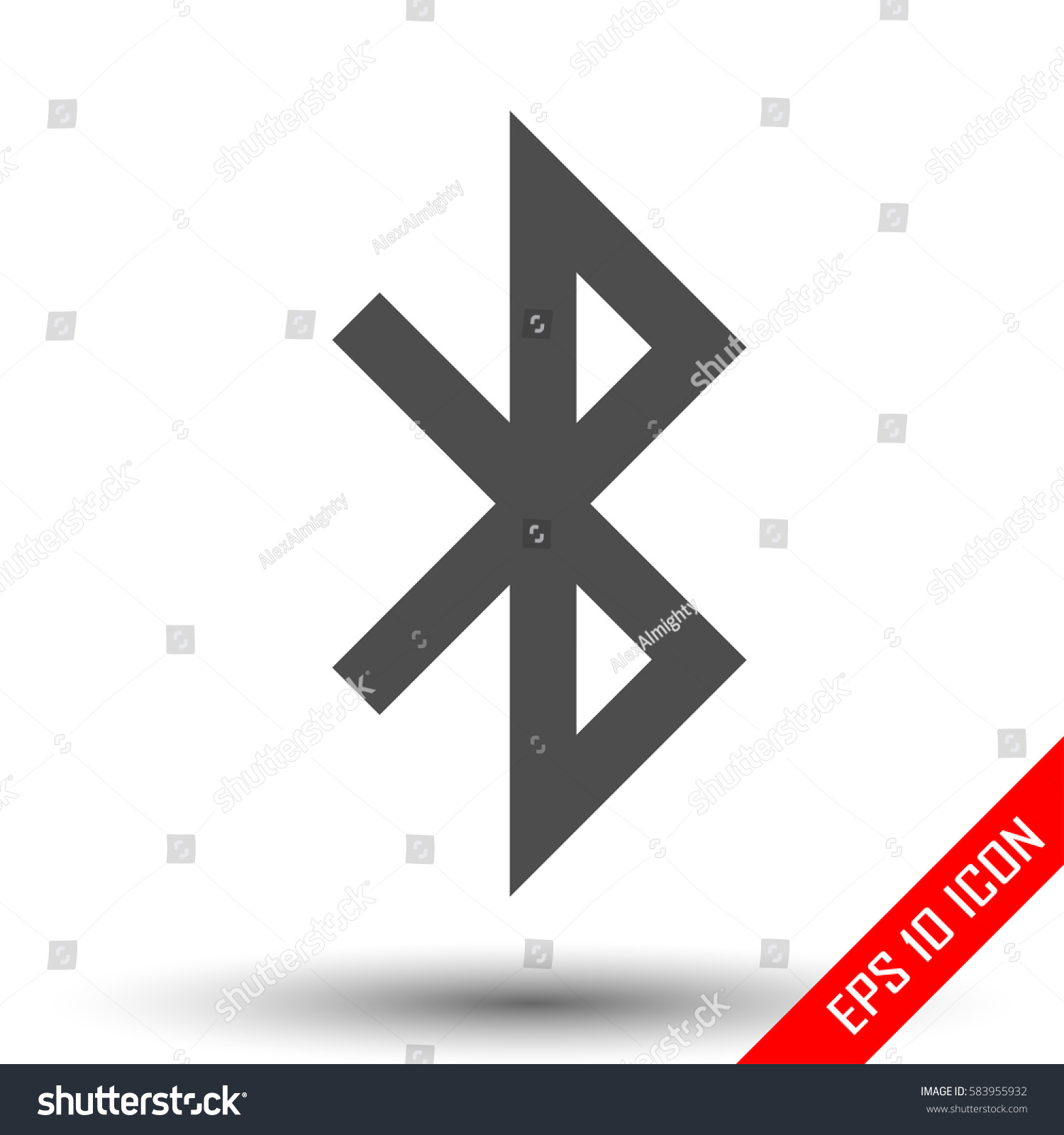 Bluetooth Icon Simple Flat Logo Bluetooth Stock Vector Royalty Free
