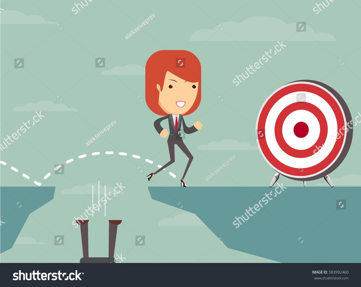 Jump gap achieve his goal stock stock illustration for Jump the gap