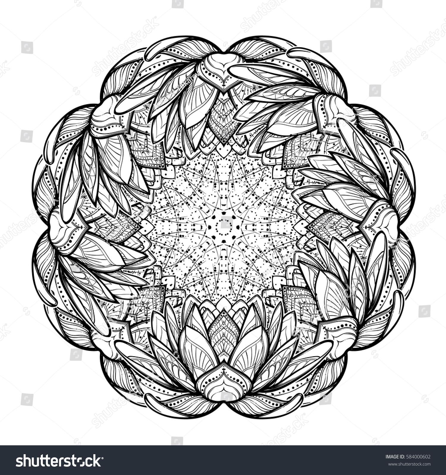 Lotus Flower Mandala Intricate Stylized Linear Stock Vector Royalty