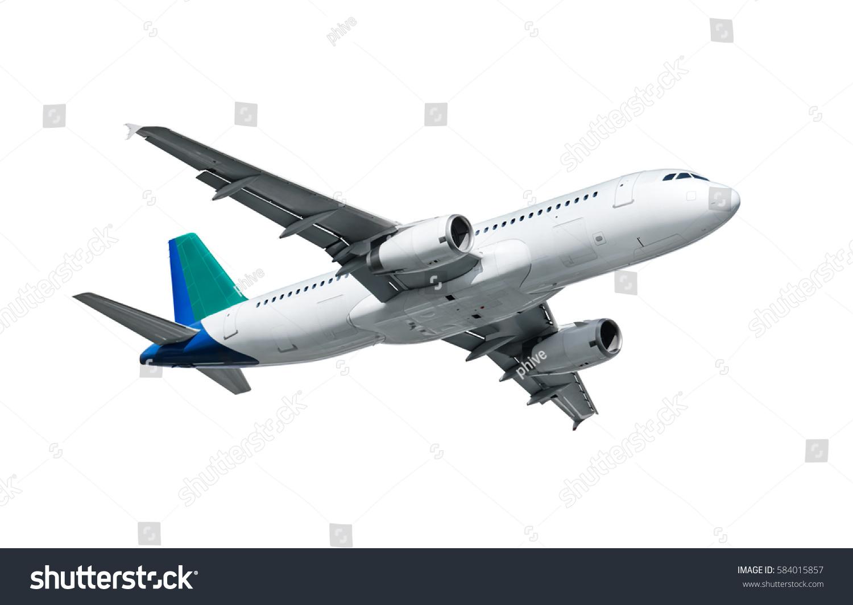 airplane isolated on white background stock photo 584015857