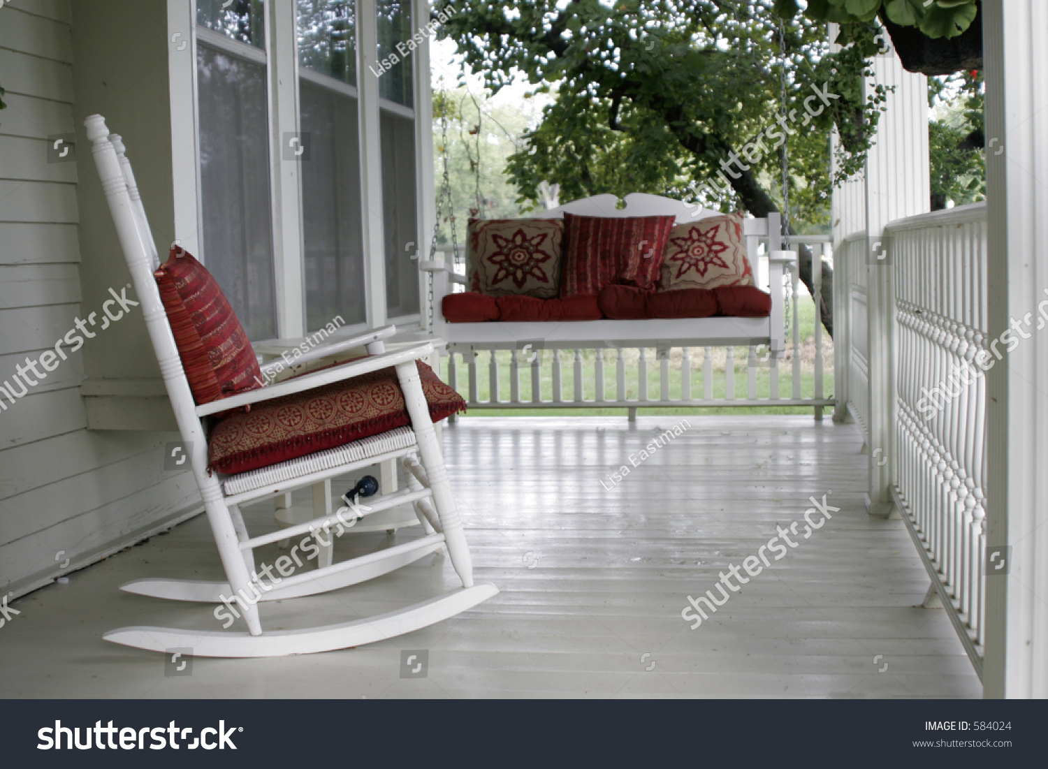Front Porch Rocking Chair Porch Swing Stock