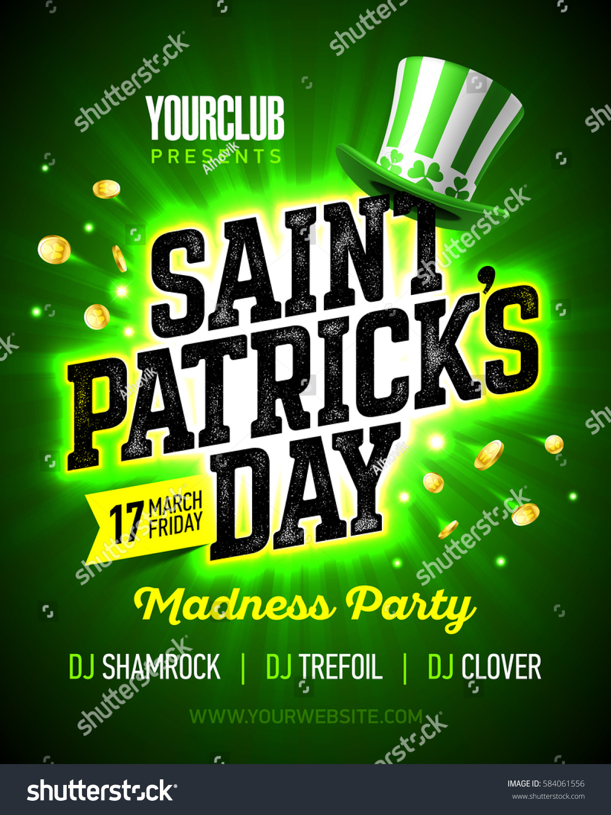 17 march saint patricks day madness stock vector 584061556