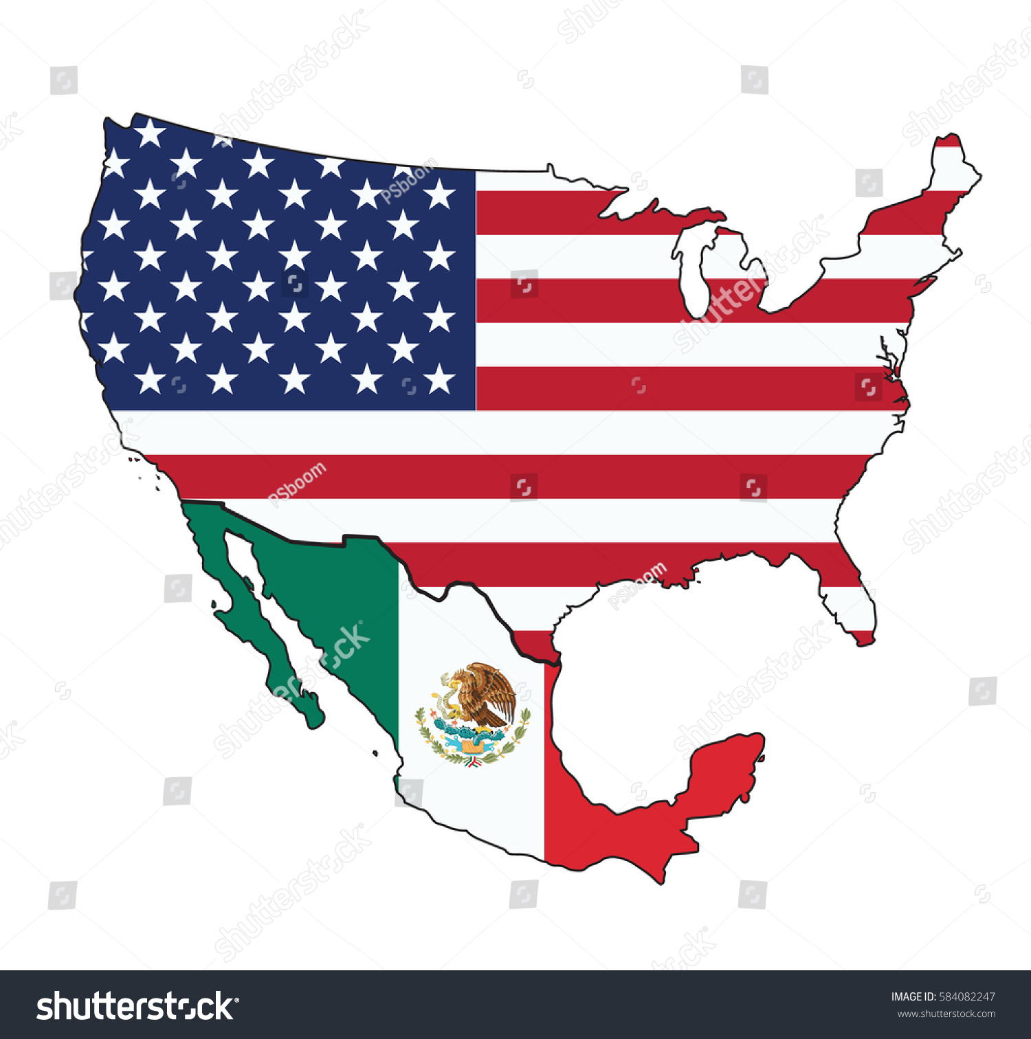 Map Usa Mexico Flag On White Stock Vector Shutterstock - Mexico usa map