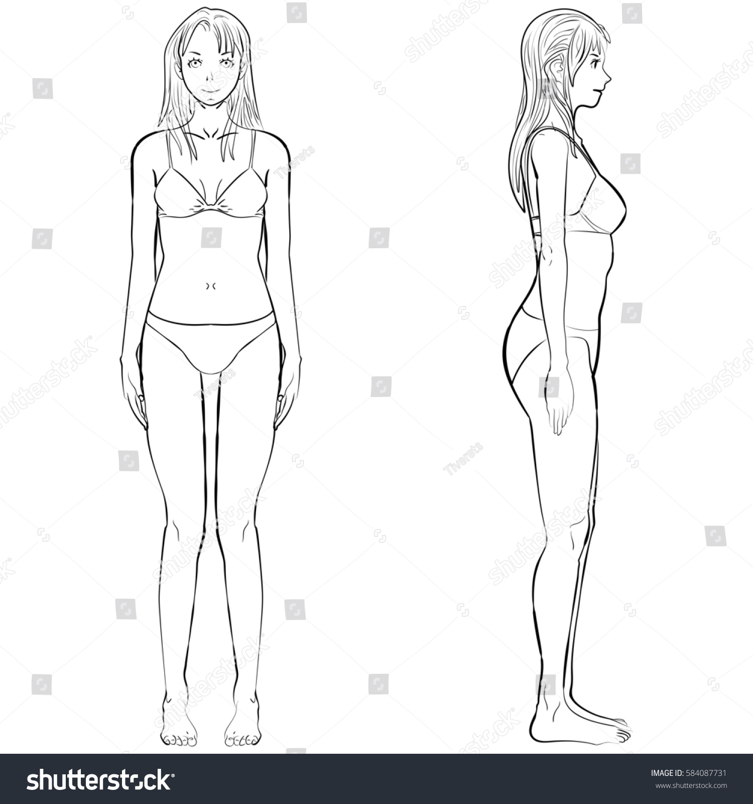 Sketch Template Girl Illustration Woman Body Stock Illustration