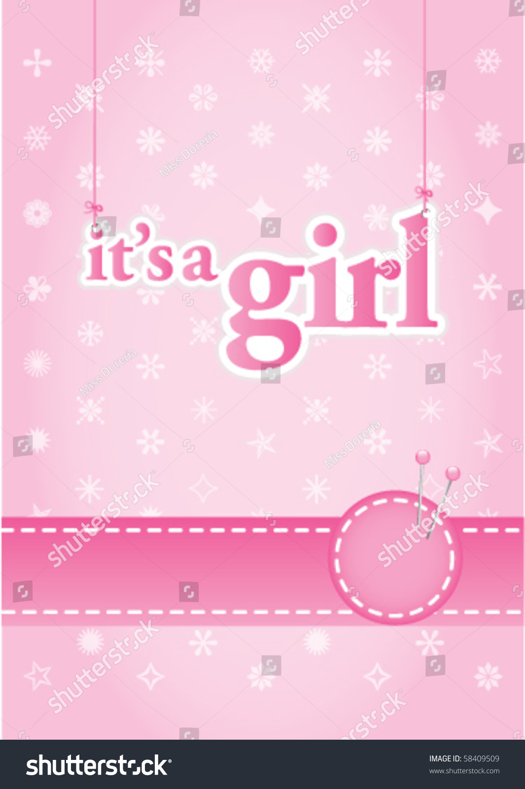 Baby Girl Arrival Announcement Card Perfect Stock Vector