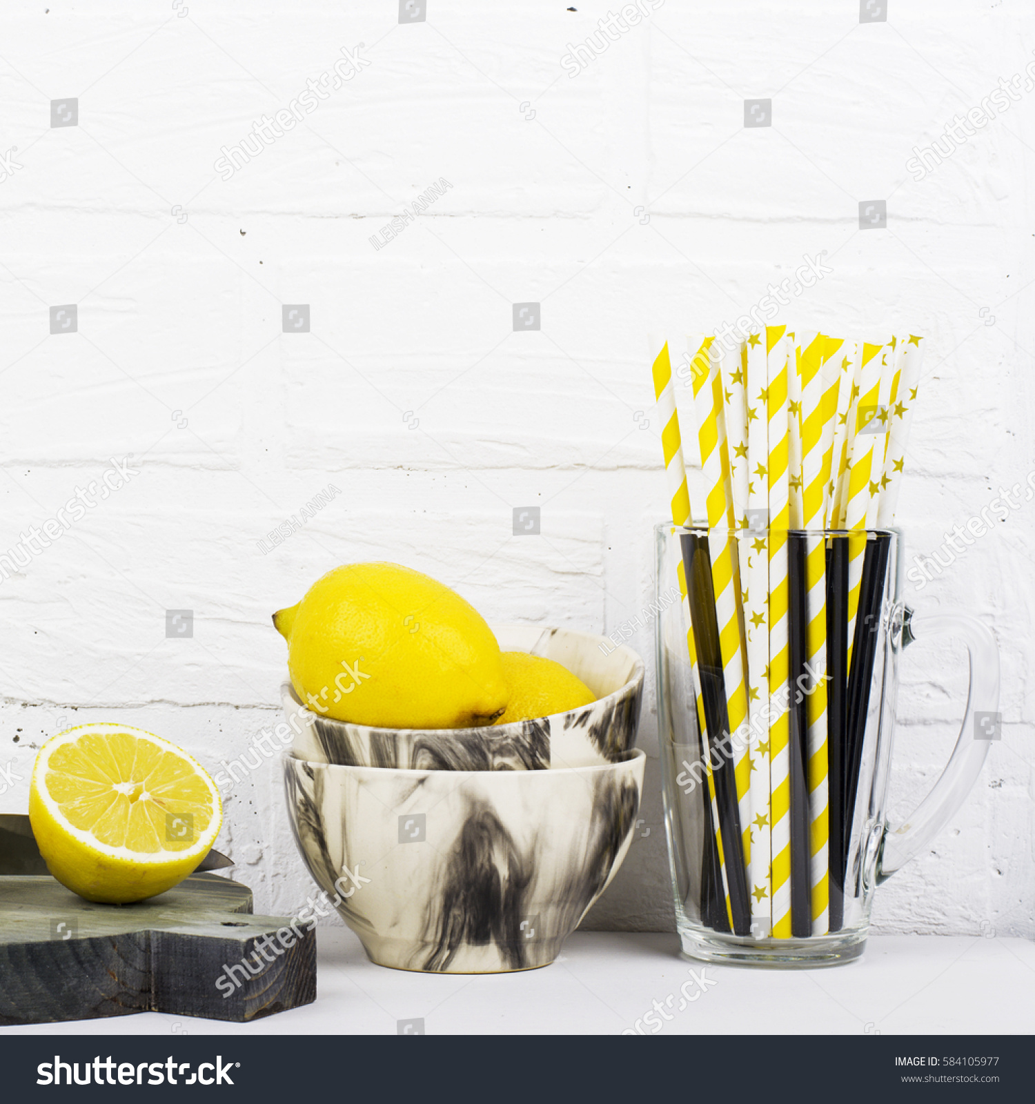 Kitchen Still Life Monochrome Colors Marble Stock Photo 584105977 ...