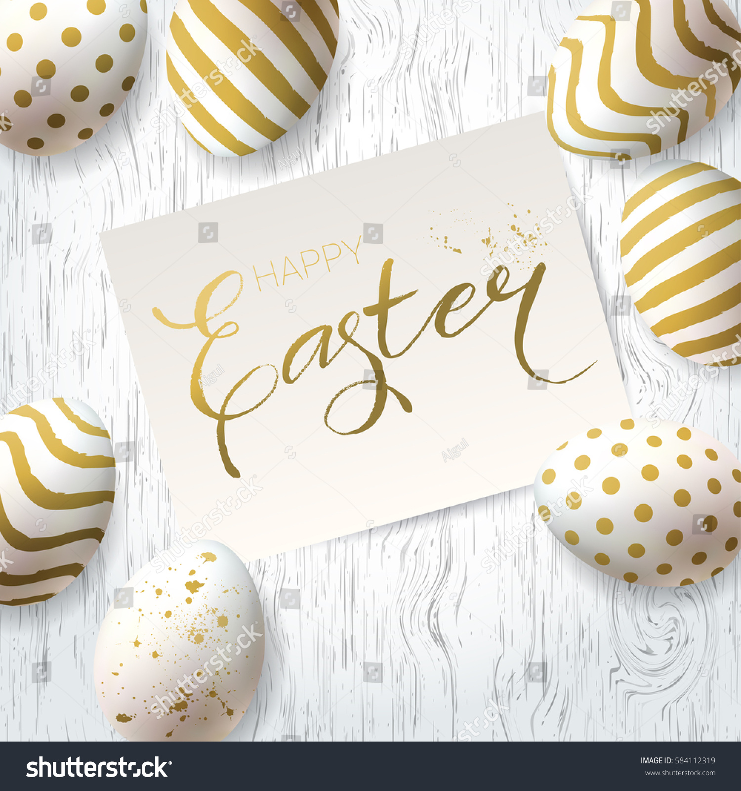 Happy Easter Greetings Card Vector Template Stock 584112319