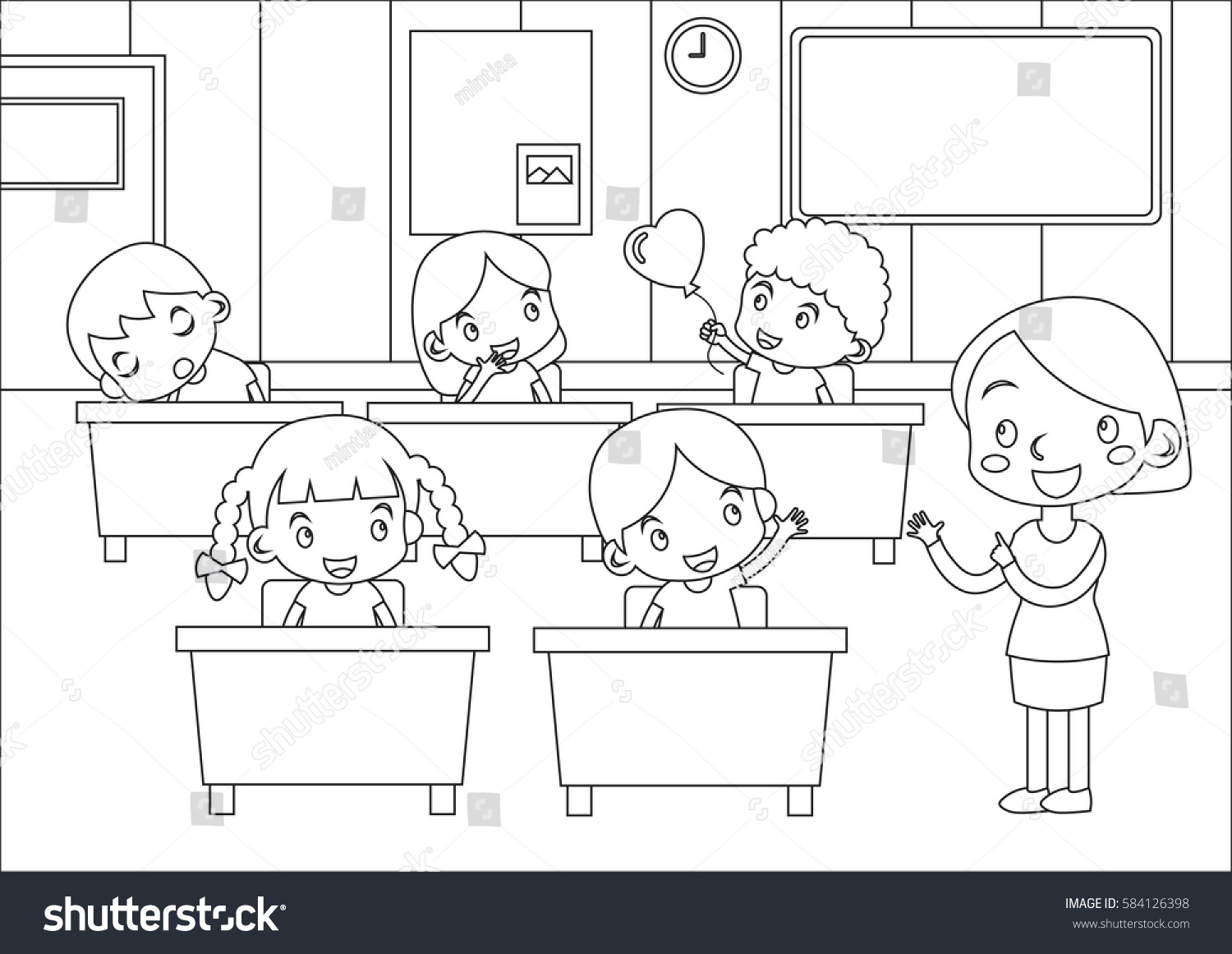 Coloring Page Funny Kids Students Teacher Stock Vector (Royalty Free ...