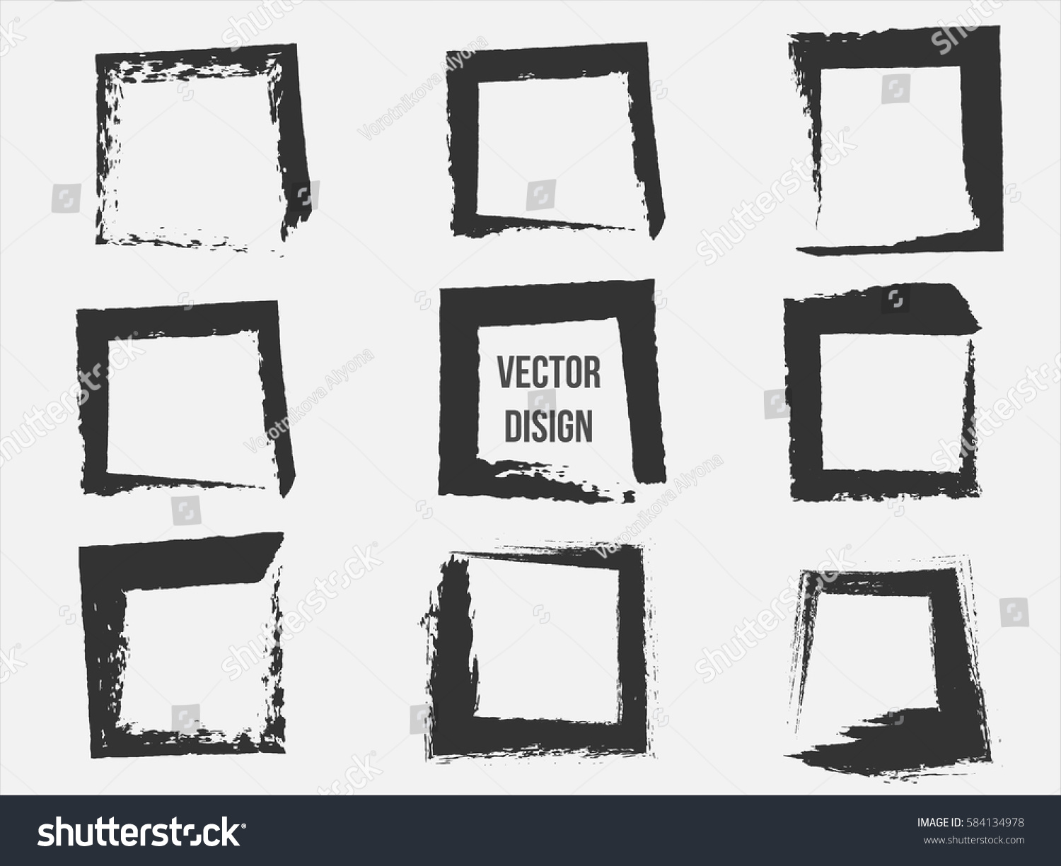 Set black grunge frames shapes vector stock vector 584134978 set of black grunge frames shapes vector illustration hand drawn ink square collection jeuxipadfo Images
