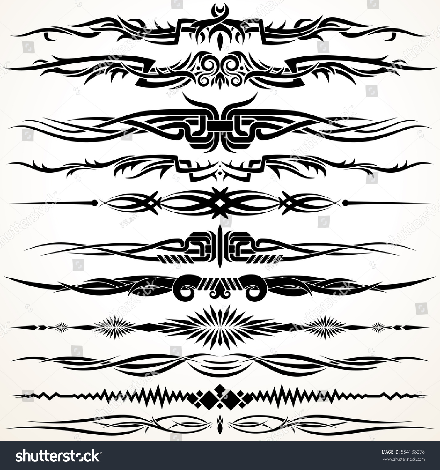 Tribal gothic style design lines vector stock vector for Gothic design elements