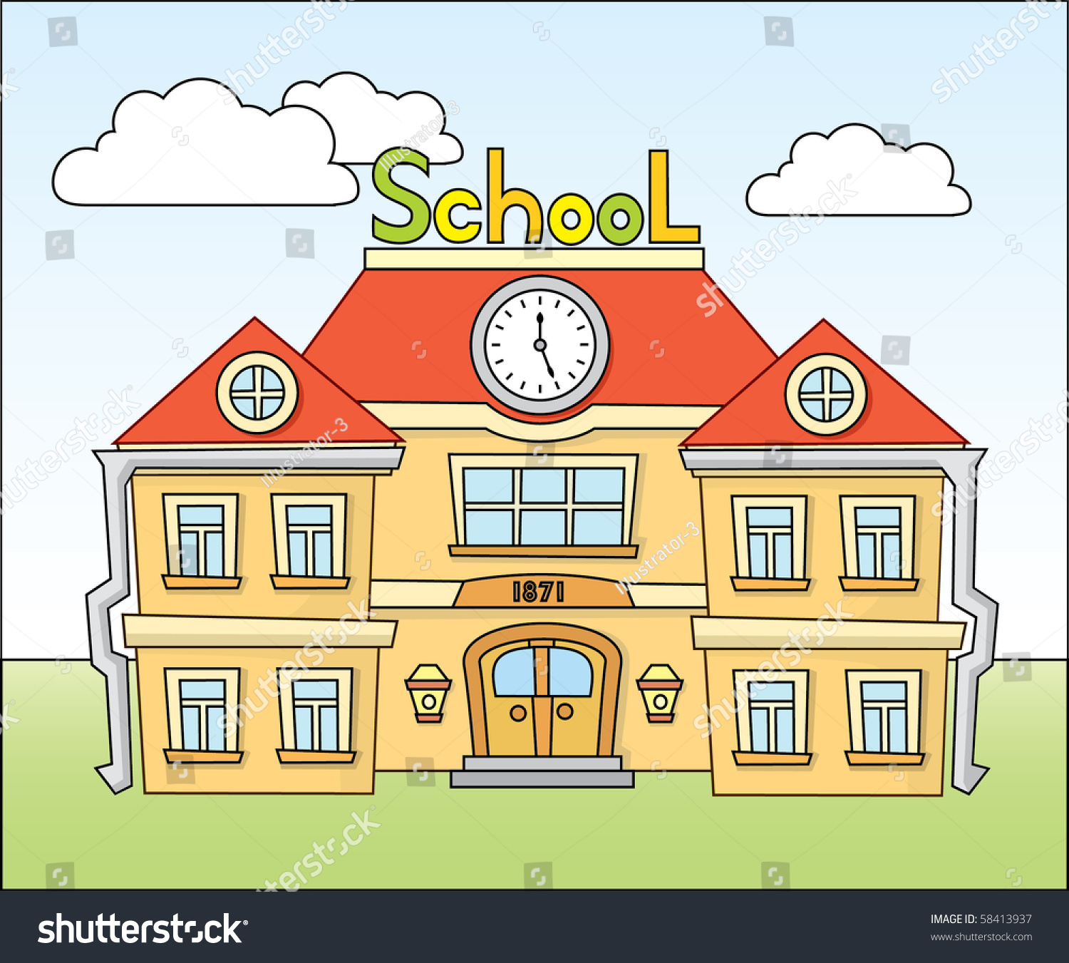 cartoon school stock vector 58413937 shutterstock