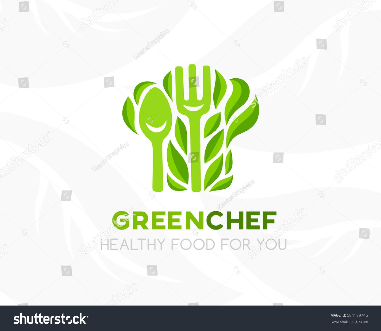 chef hat leaves kitchen utensil logo stock vector