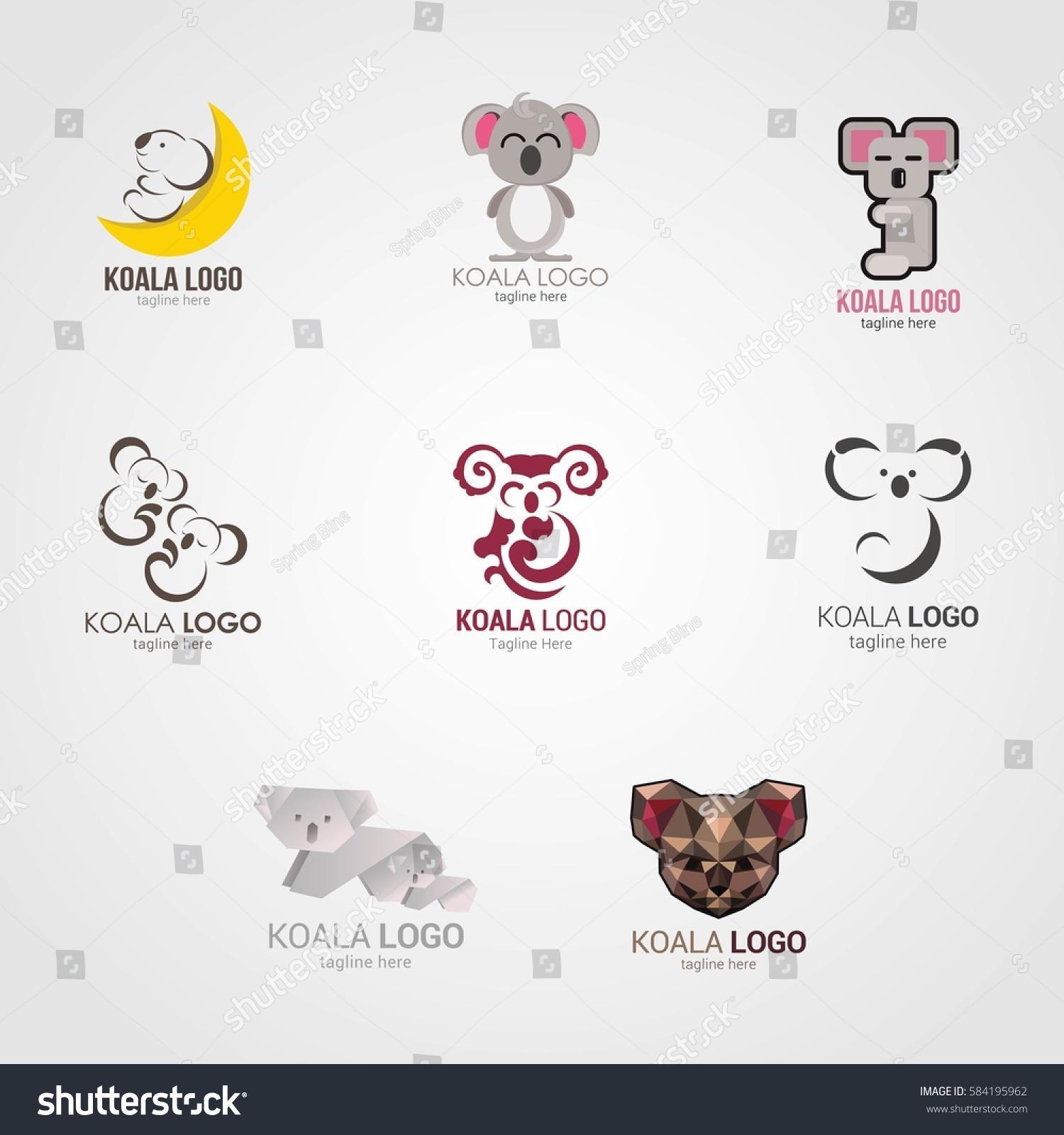 koala logo design template vector illustration stock vector 584195962 shutterstock. Black Bedroom Furniture Sets. Home Design Ideas