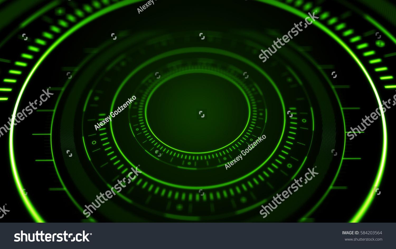 Side View Abstract Digital Circle On Stock Illustration 584203564 Radar Speedometer Of Dark Background Hi Tech Concept 3d