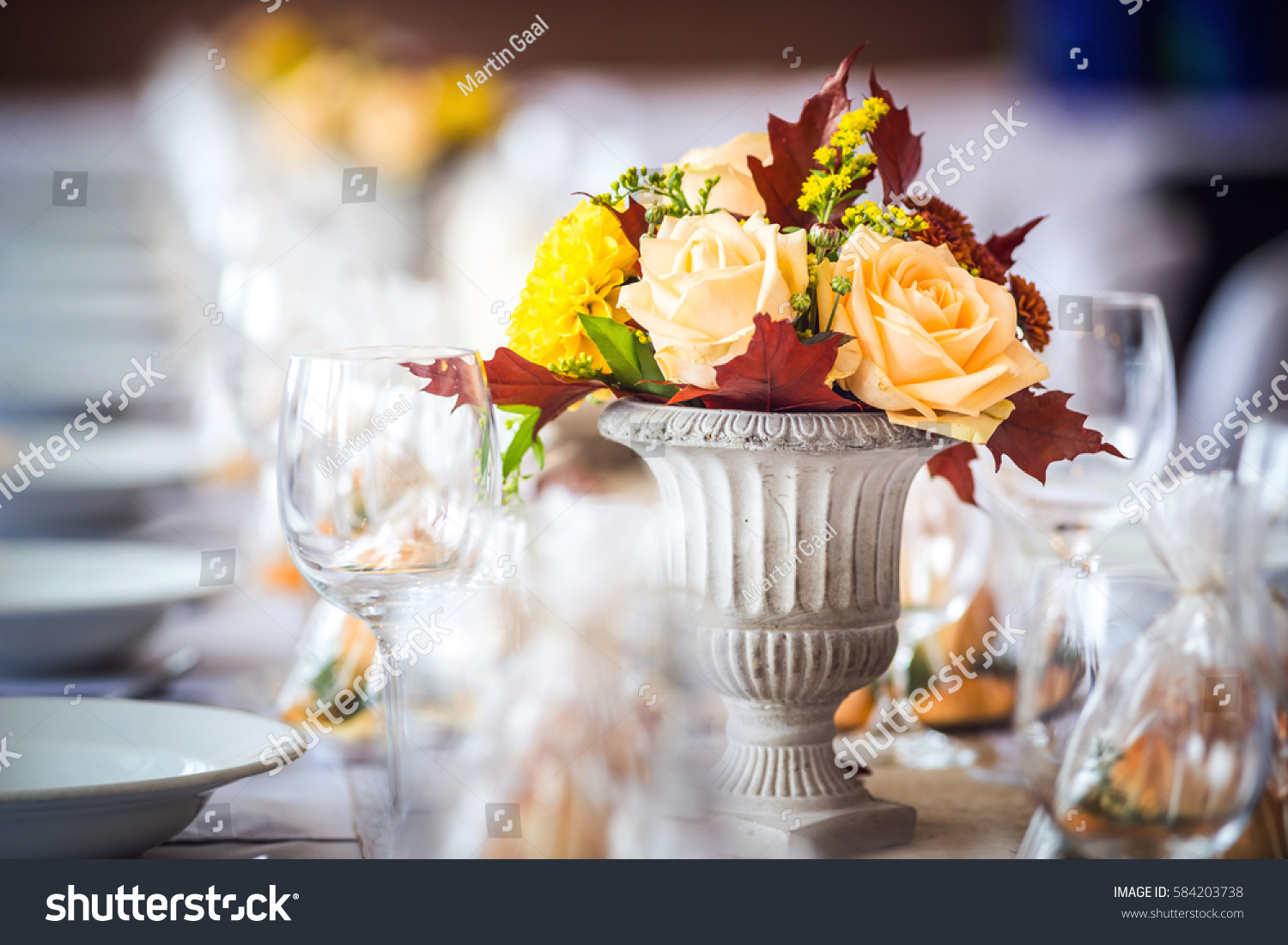 beautiful restaurant interior table decoration wedding stock photo