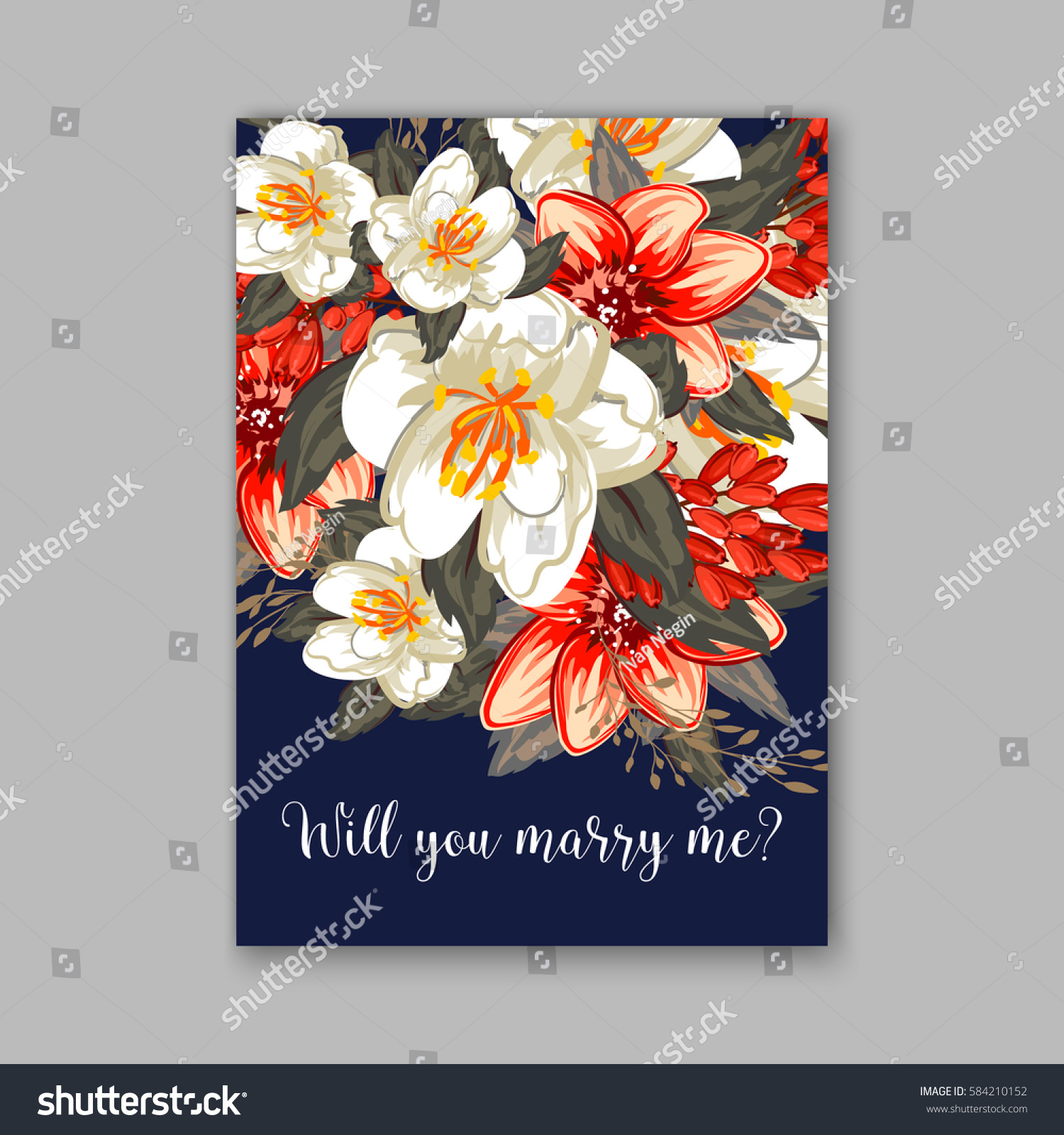 Romantic Wedding Invitation Card Template Red Stock Vector (Royalty ...