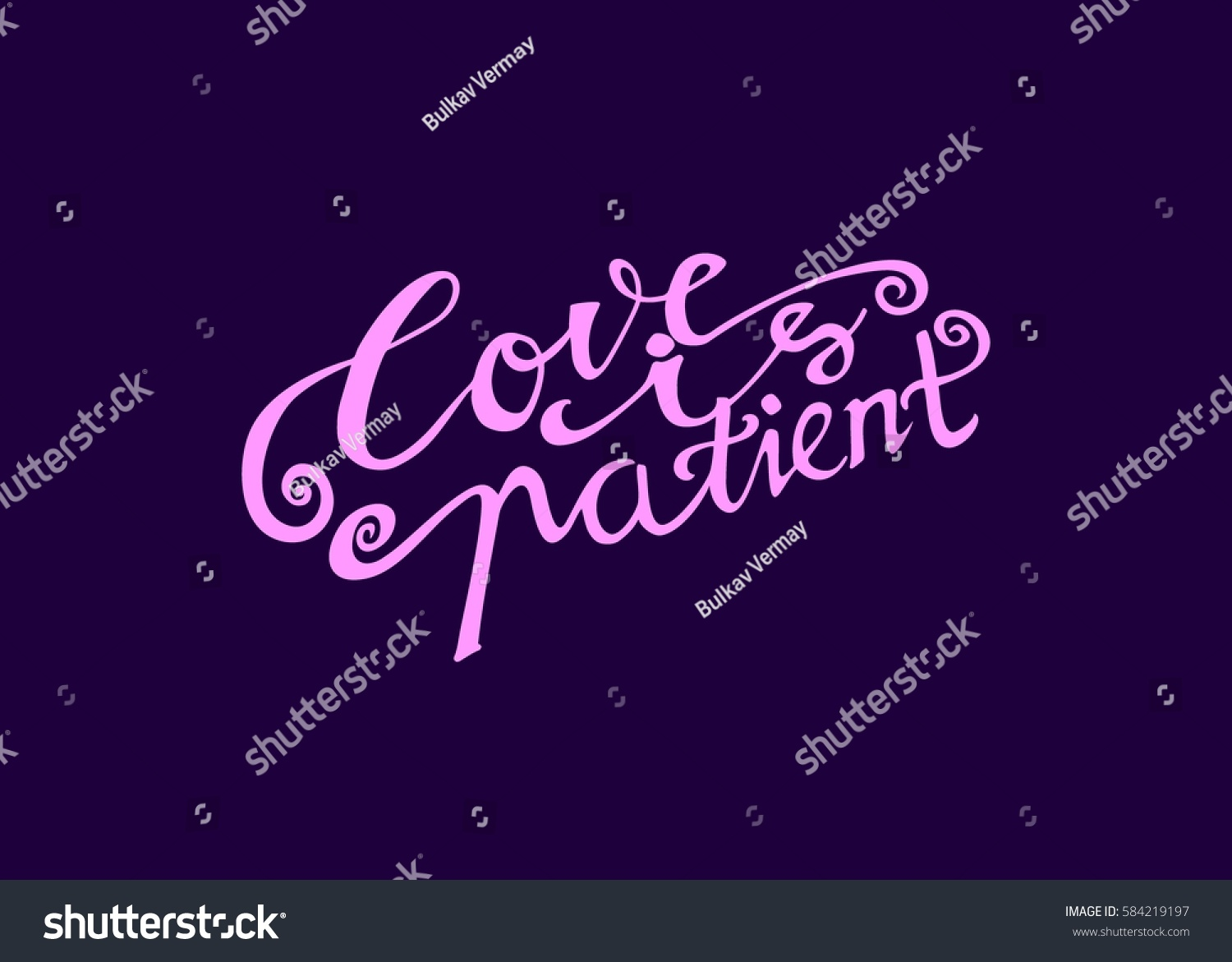 Love patient hand lettered quote modern stock vector