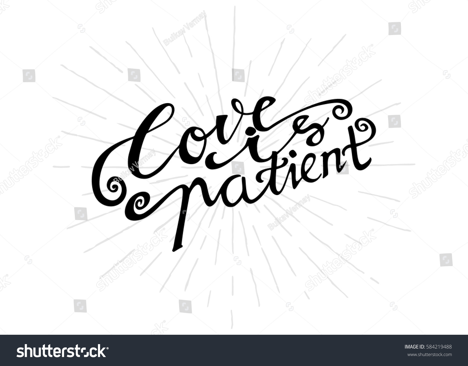 Quote Love Is Patient Love Patient Hand Lettered Quote Modern Stock Vector 584219488