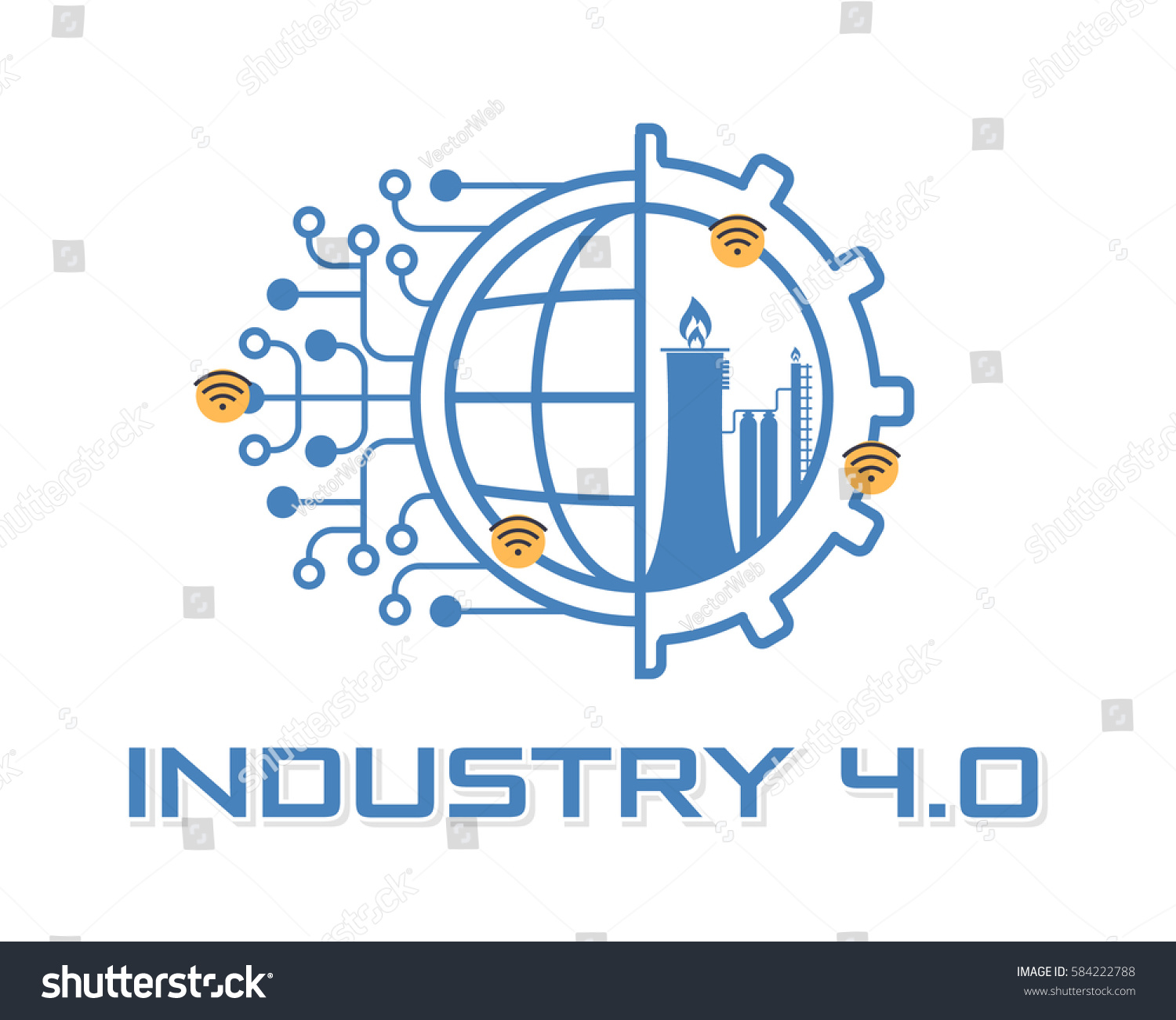 Industry 40 Concept Business Control Logo Stock Vector