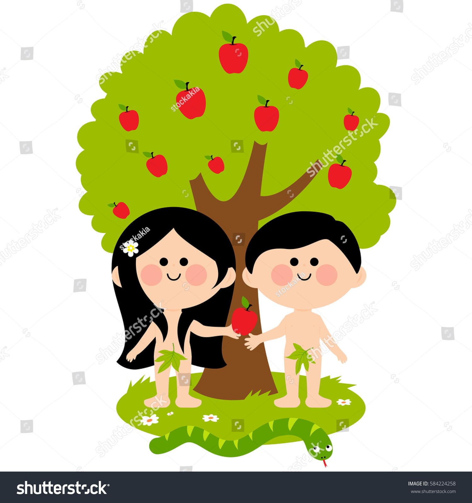 Adam Eve Snake Under Apple Tree Stock Illustration ...
