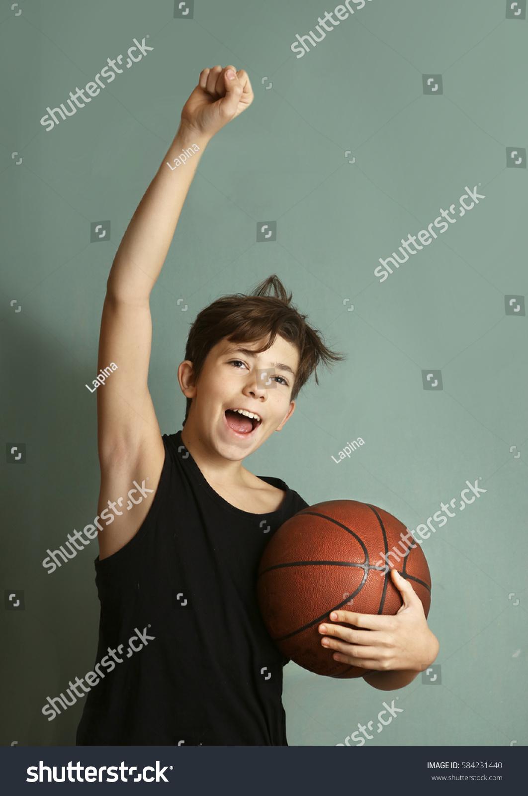 Teen Boy Basketball Ball Sleeveless Tshirt Stock Photo Edit Now