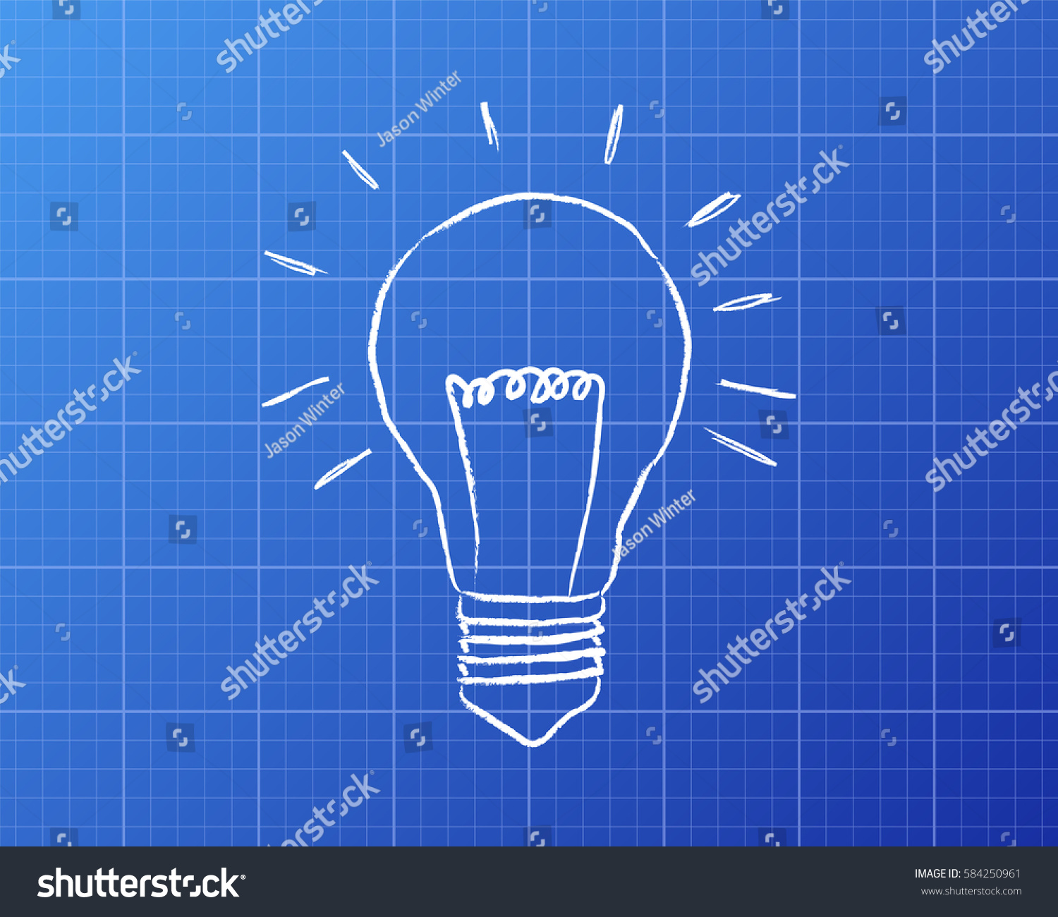 Light Bulb Drawing On Blueprint Background Stock Illustration Schematic