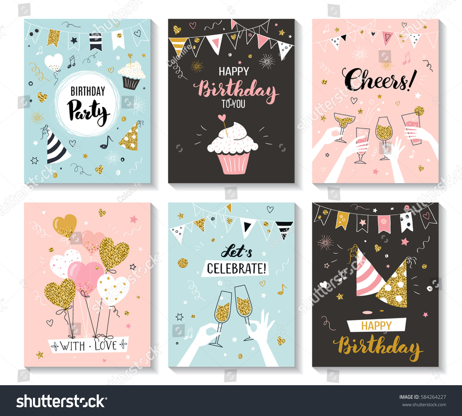 happy birthday greeting card party invitation のベクター画像素材