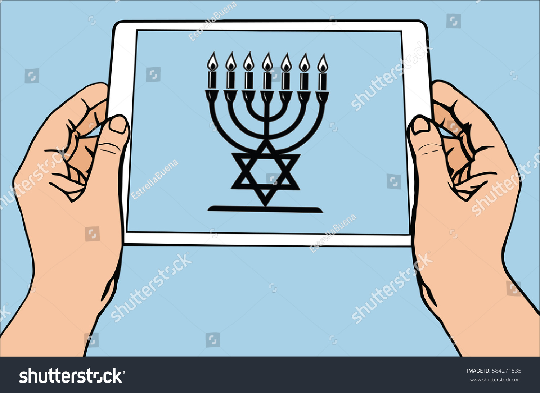 Most Important Symbol Religion Judaism Menorah Stock Vector Royalty