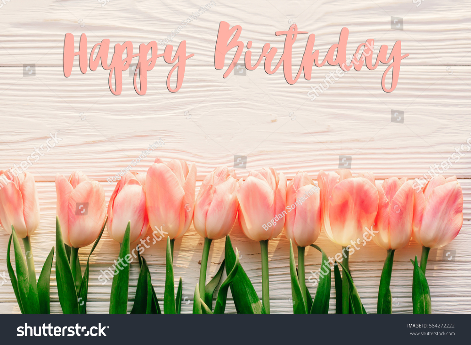 Happy birthday text sign on pink stock photo royalty free happy birthday text sign on pink tulips on white rustic wooden background flat lay spring izmirmasajfo Image collections