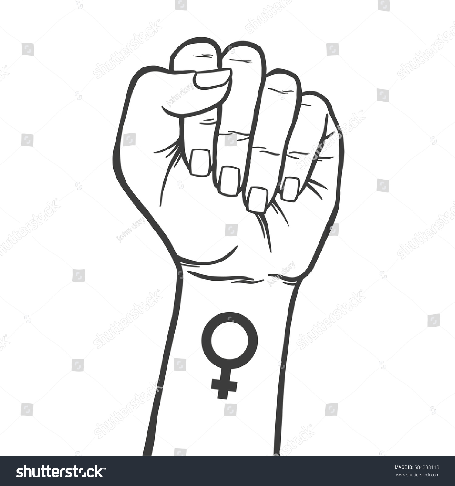 Symbol Feminist Movement Woman Hand Her Stock Vector 2018