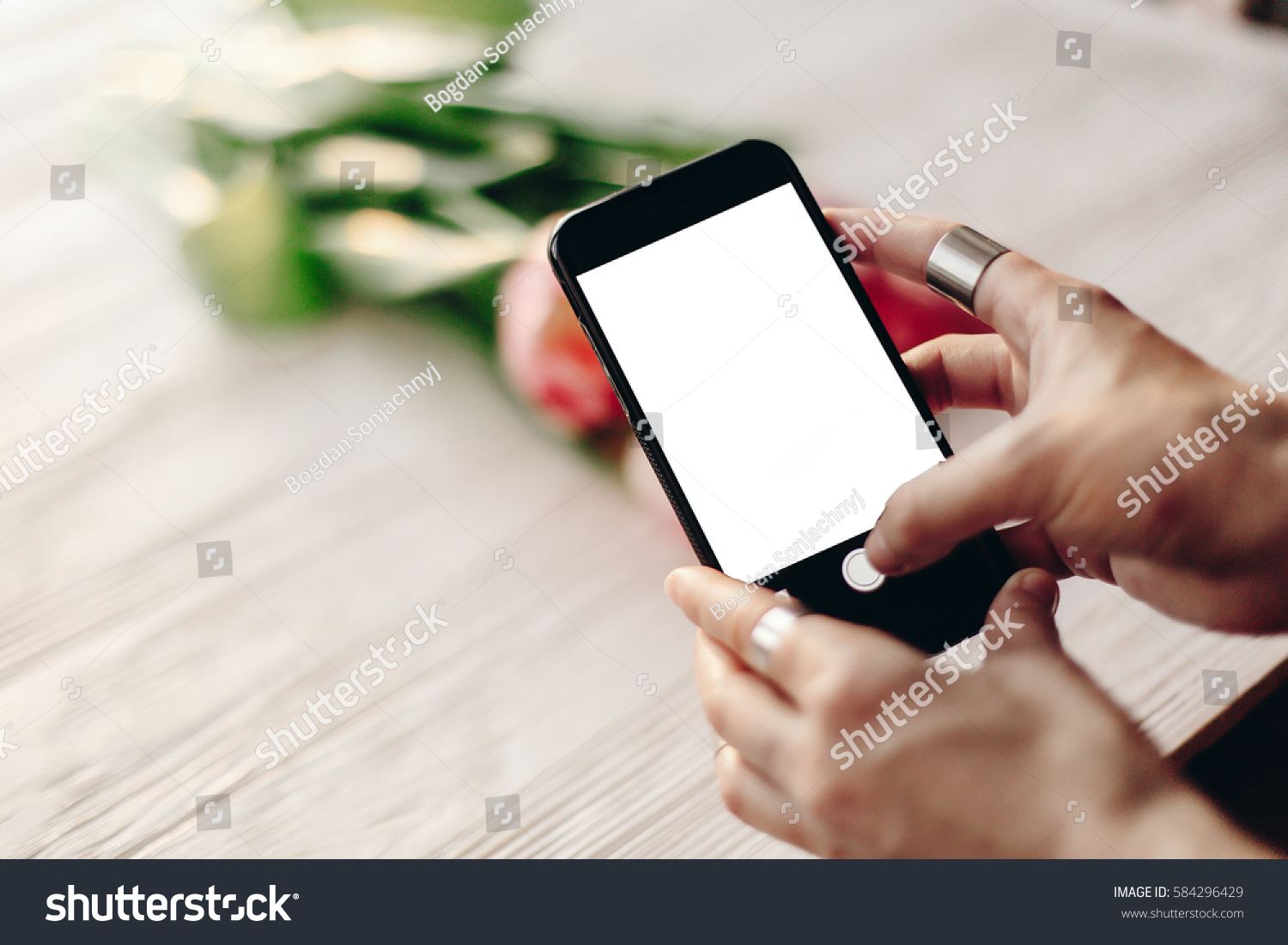 Hand Holding Phone Empty Screen Space Stock Photo ...