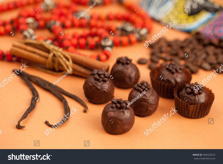 Beautiful Still Life Chocolate Truffles Cinnamon Stock Photo Edit