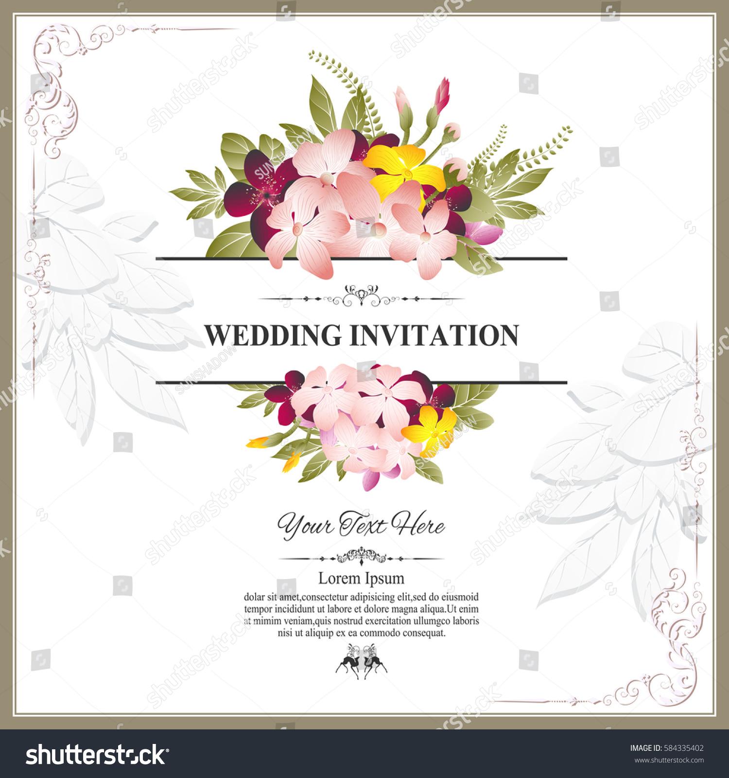 Invitation card or wedding card with floral pattern on background invitation card or wedding card with floral pattern on background contemporary vintage art framemotifs elements vector decorative retro greeting card stopboris Choice Image