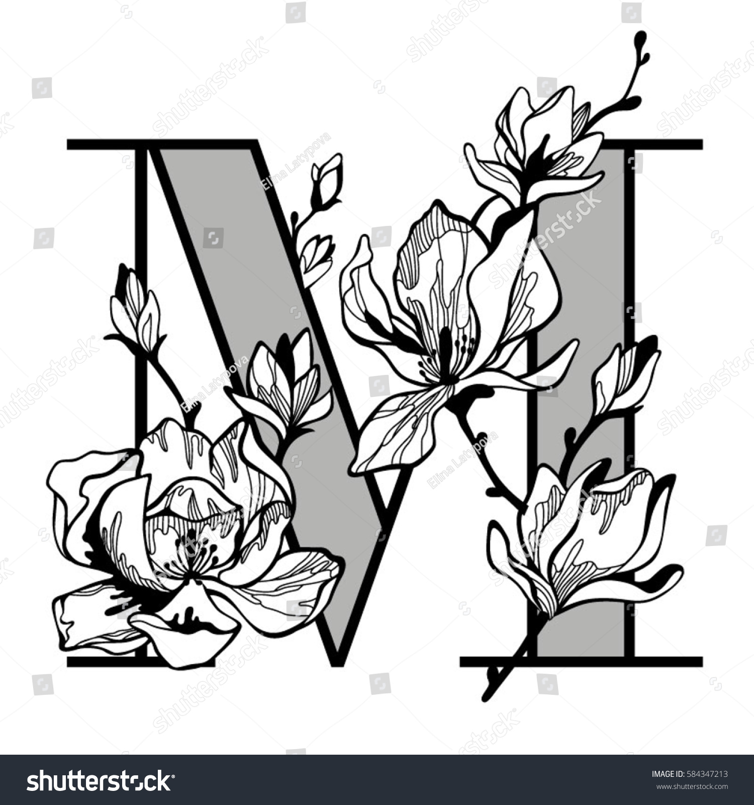 decorative letter m flowers floral initial stock vector royalty