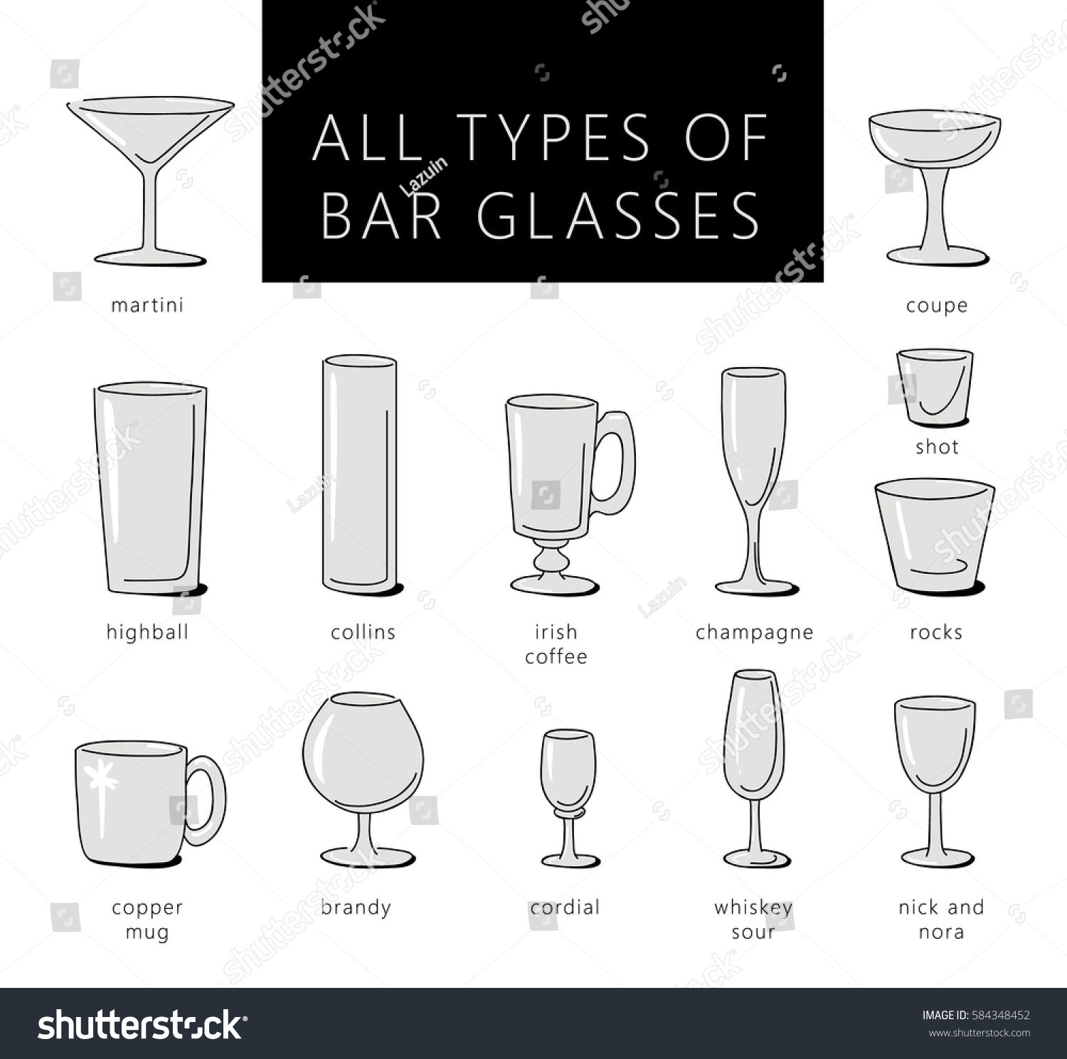 Lovely Bar Glasses Vector Icons Set. Vector Types Of Glasses Silhouettes. Guide To  Various Types