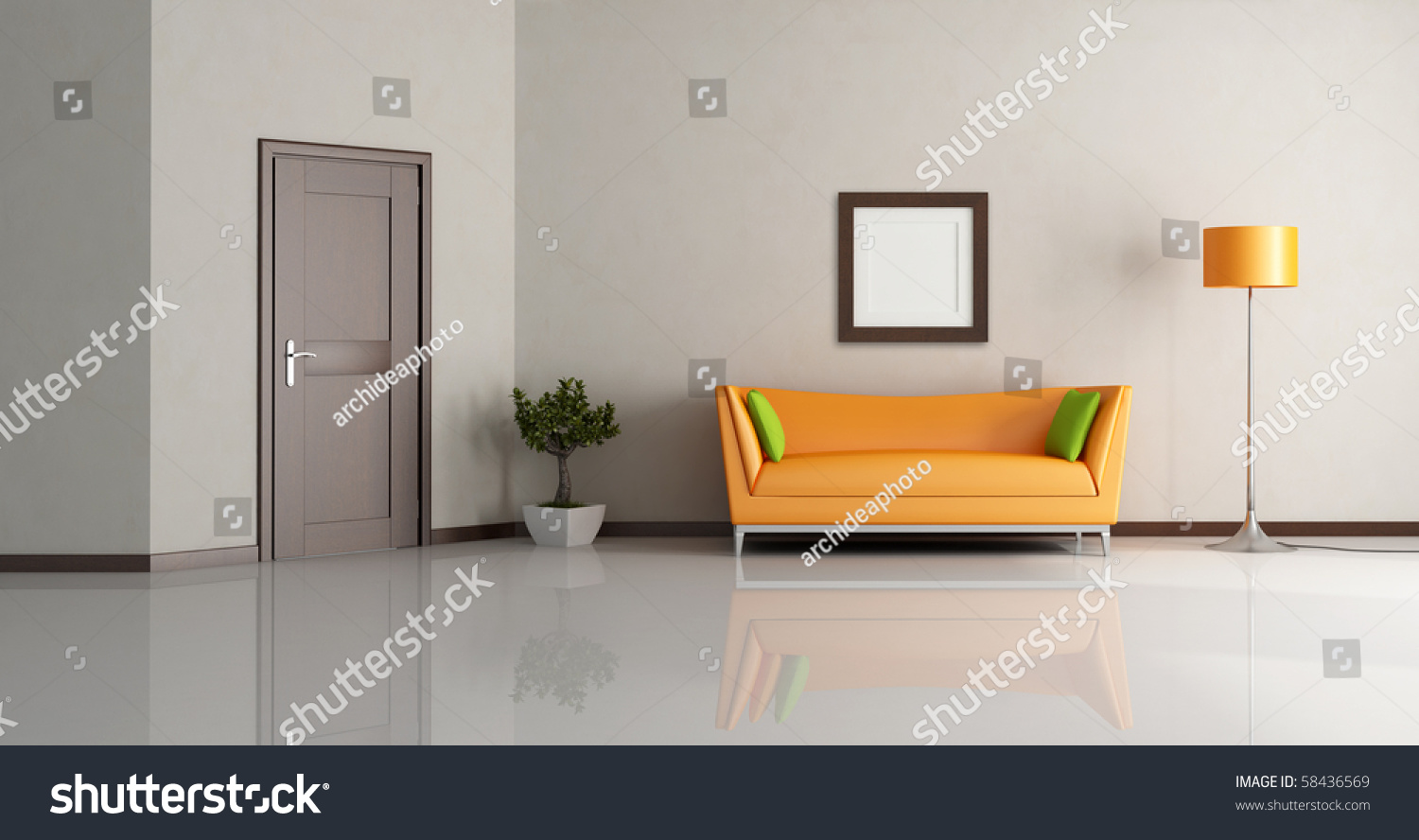 Modern living room with orange couch and wooden door rendering preview save to a lightbox