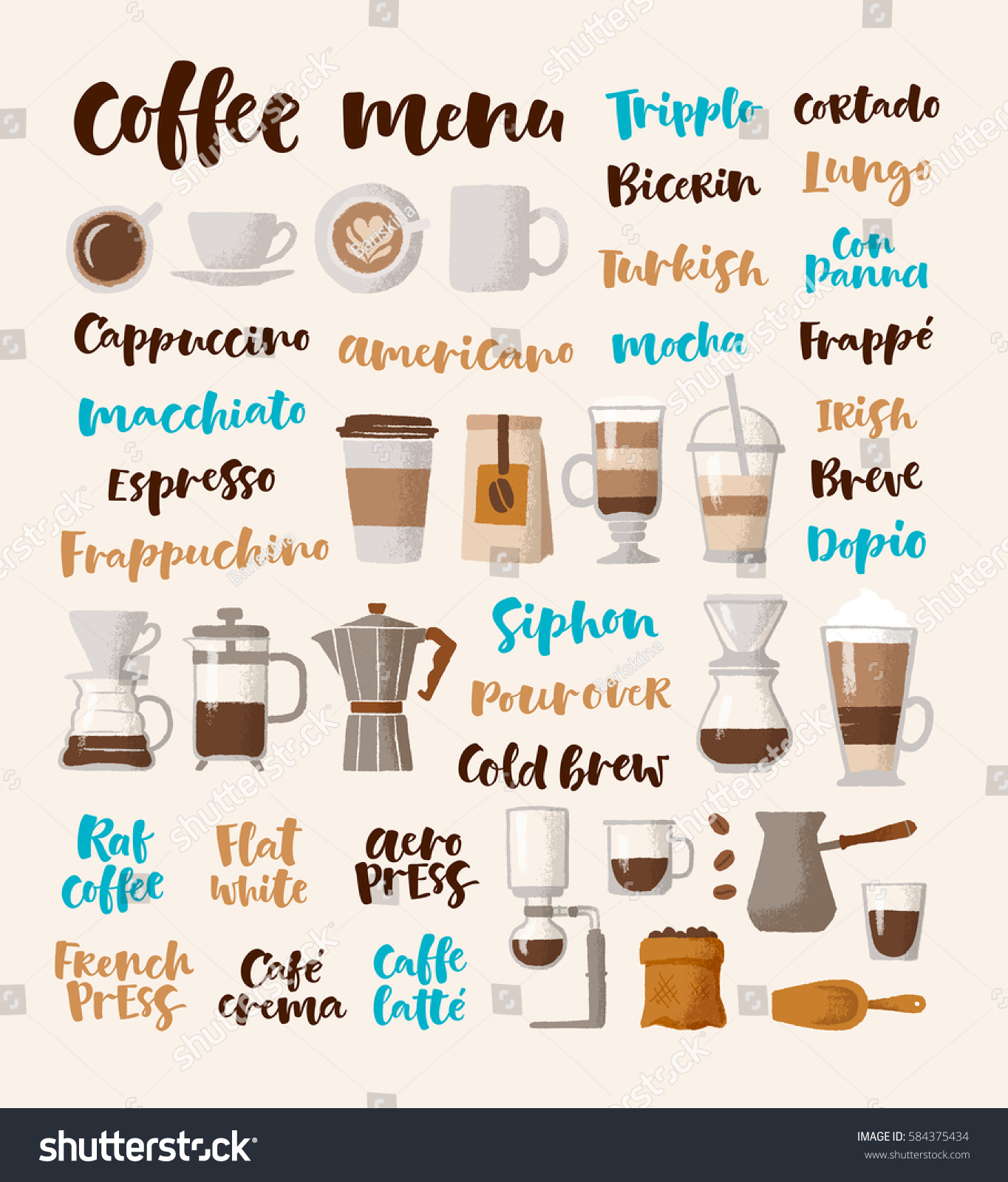Vector Handwritten Lettering Graphic Illustrations Coffee Stock Vector Royalty Free 584375434