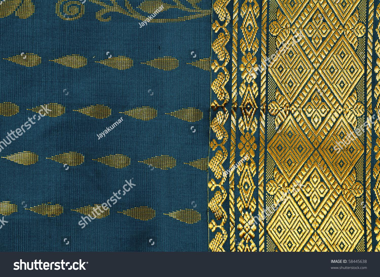 Embroidery Silk Sari Border In White Background Stock ...