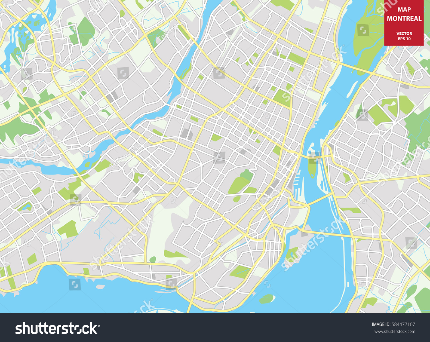 vector color map of montreal canada city plan of montreal vectorillustration. vector color map montreal canada city stock vector